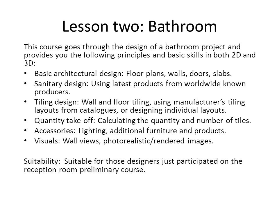 Lesson two: Bathroom