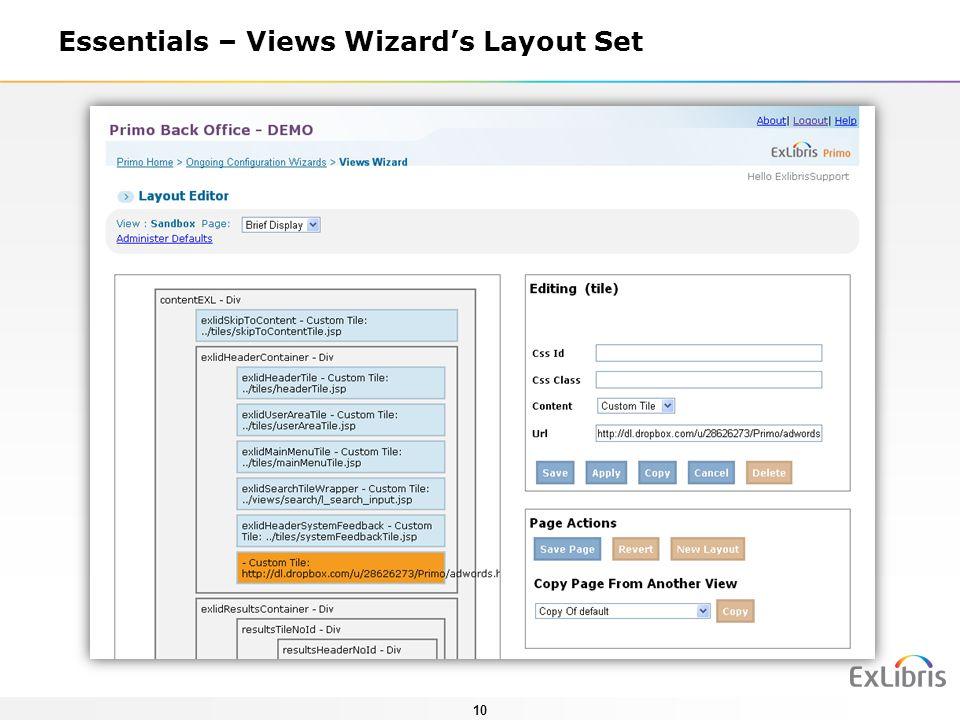 Essentials – Views Wizard's Layout Set