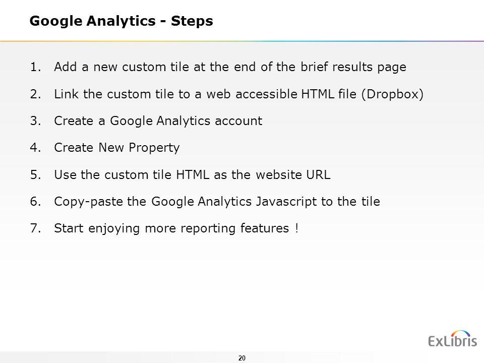 Google Analytics - Steps