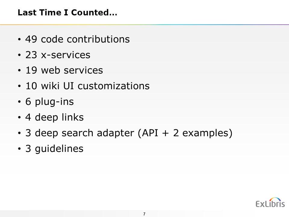 10 wiki UI customizations 6 plug-ins 4 deep links