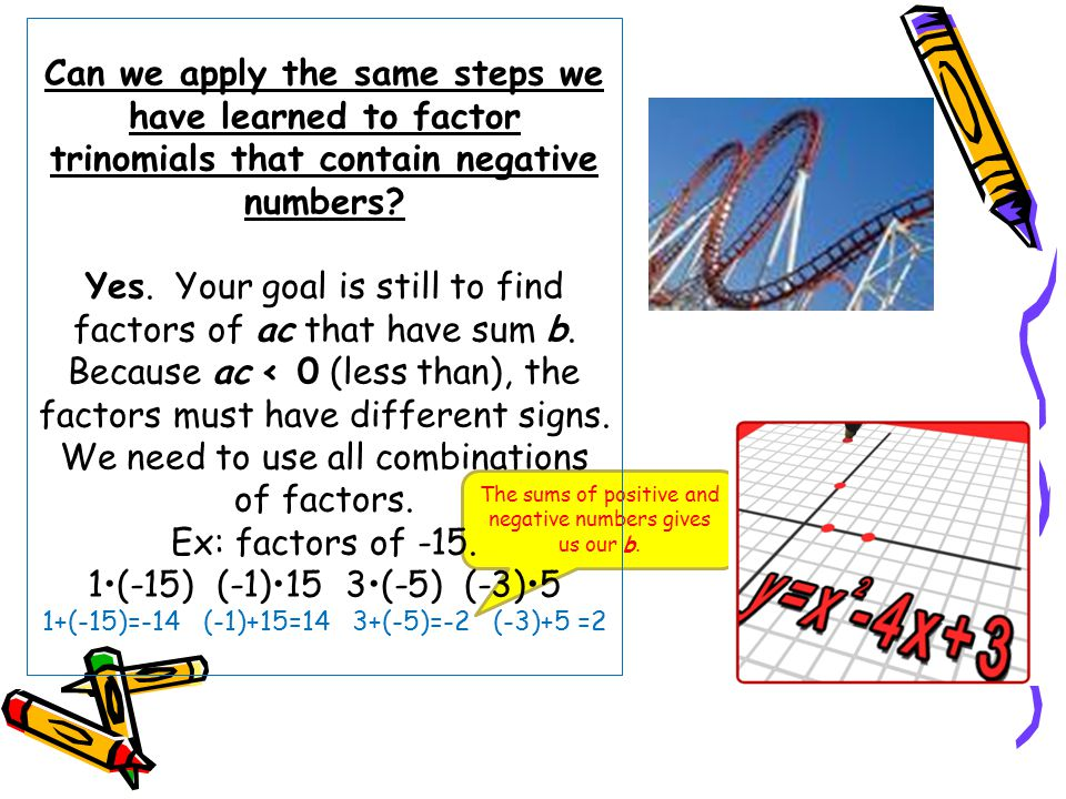 The sums of positive and negative numbers gives us our b.