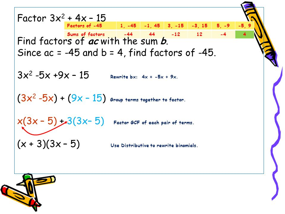Factor 3x2 + 4x – 15 Find factors of ac with the sum b