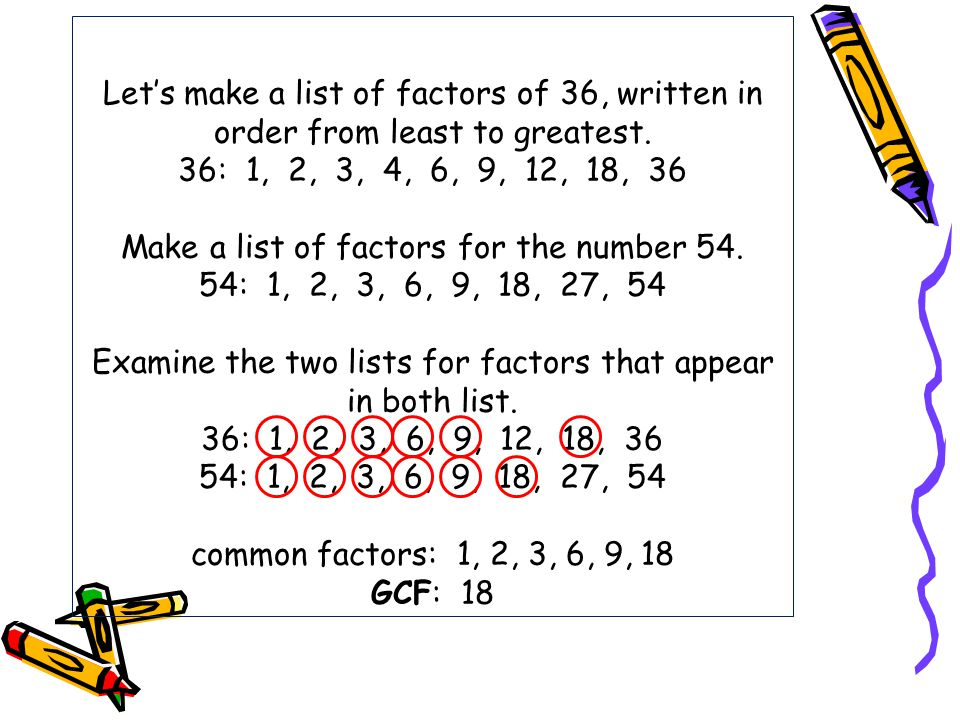 Let's make a list of factors of 36, written in order from least to greatest.