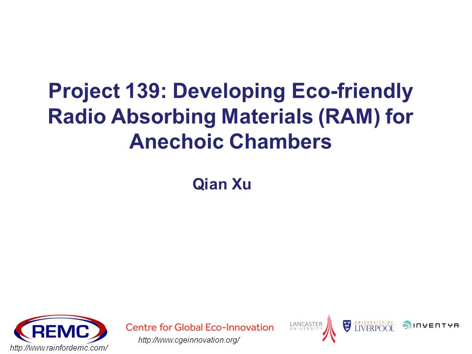 Project 139: Developing Eco-friendly Radio Absorbing Materials (RAM) for Anechoic Chambers