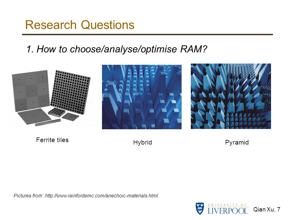 Research Questions 1. How to choose/analyse/optimise RAM