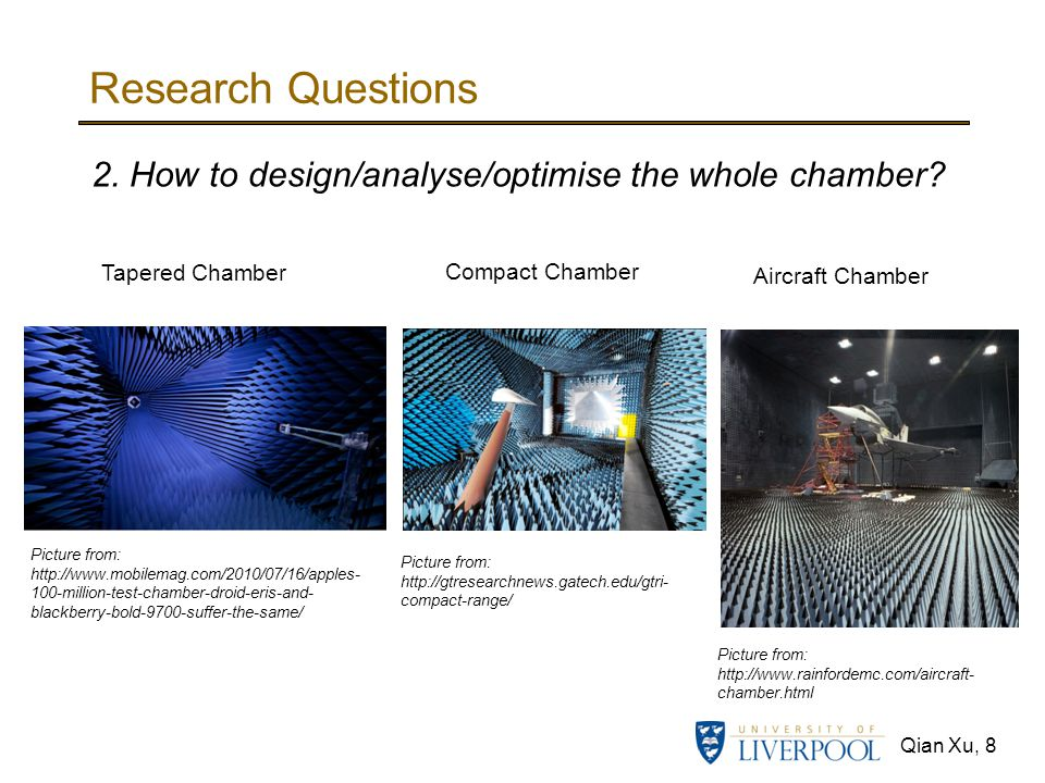 Research Questions 2. How to design/analyse/optimise the whole chamber Tapered Chamber. Compact Chamber.