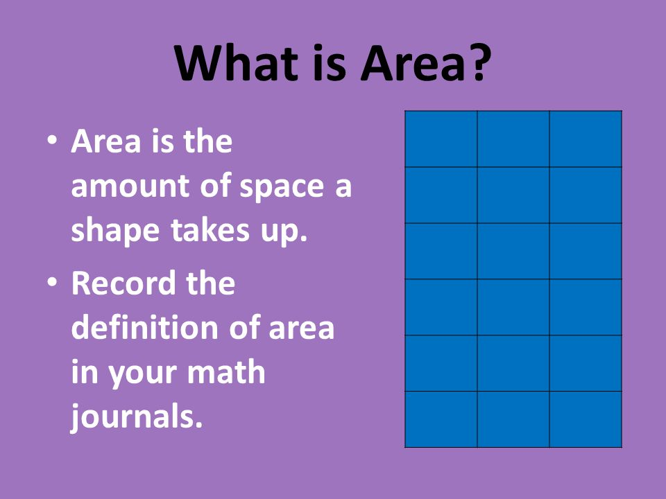 What is Area Area is the amount of space a shape takes up.