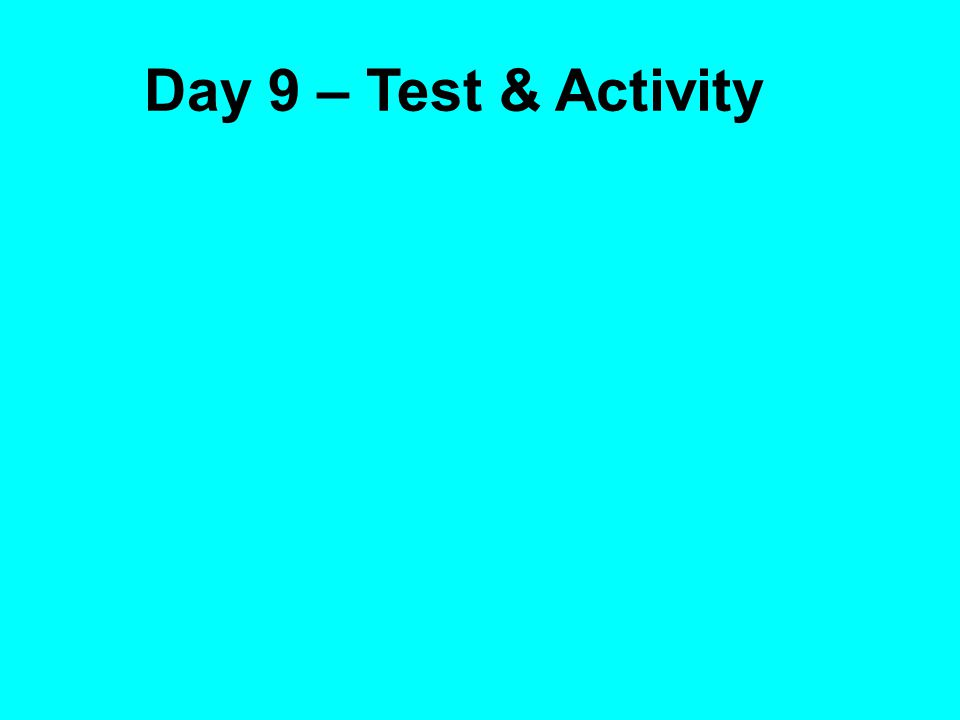 Day 9 – Test & Activity