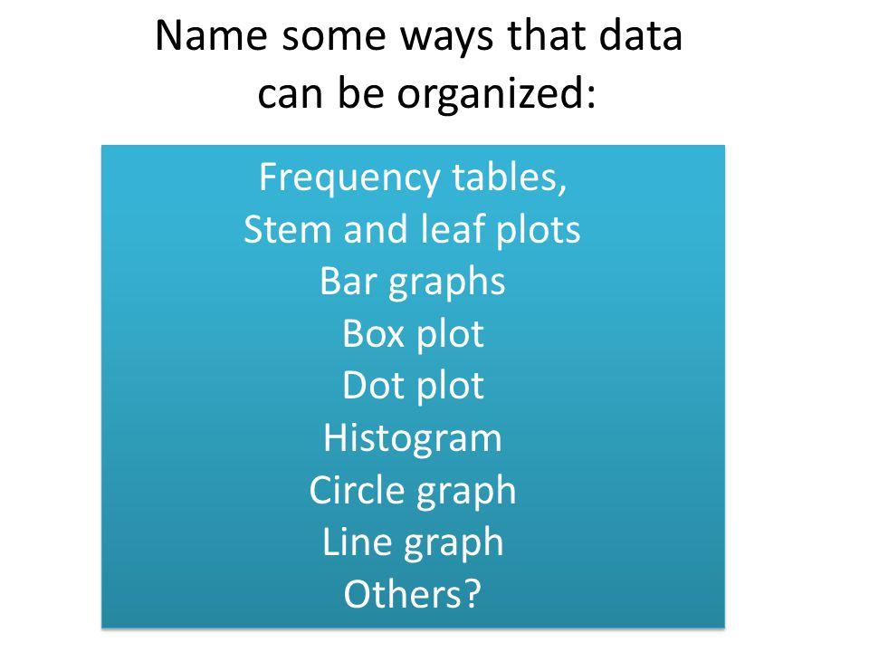 Name some ways that data can be organized: