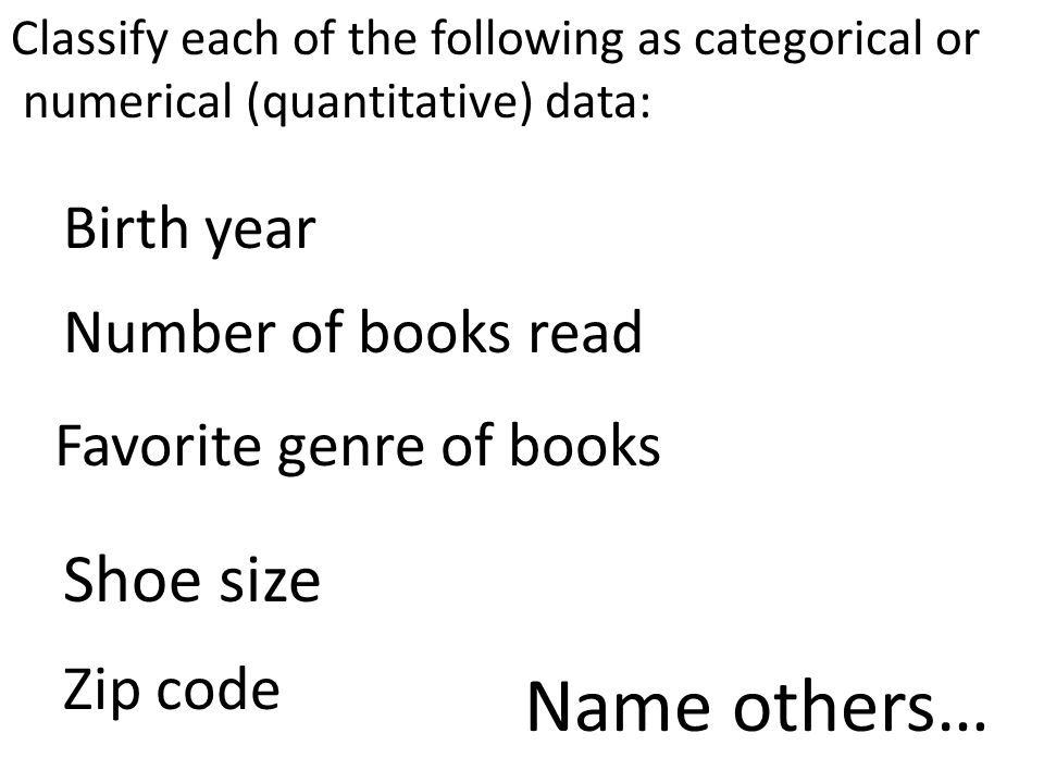 Name others… Shoe size Birth year Number of books read
