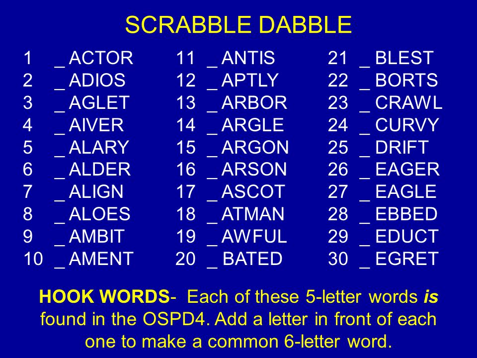 SCRABBLE DABBLE _ ACTOR _ ANTIS _ BLEST _ ADIOS _ APTLY _ BORTS