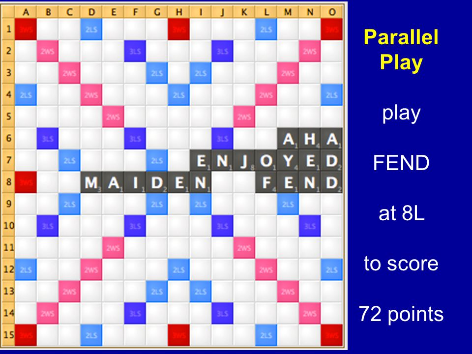 Parallel Play play FEND at 8L to score 72 points