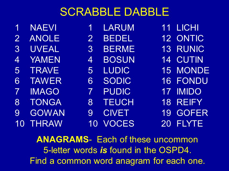 SCRABBLE DABBLE NAEVI LARUM LICHI ANOLE BEDEL ONTIC UVEAL BERME RUNIC