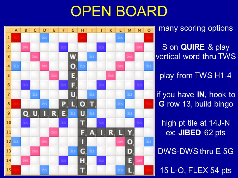 OPEN BOARD many scoring options S on QUIRE & play