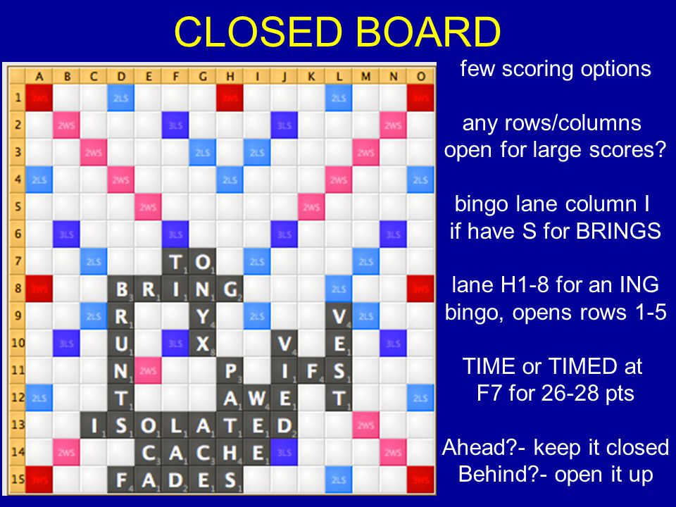 CLOSED BOARD few scoring options any rows/columns