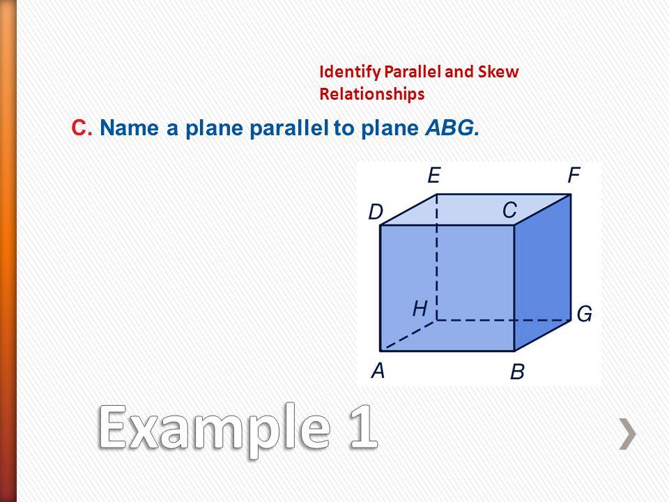 Example 1 C. Name a plane parallel to plane ABG.