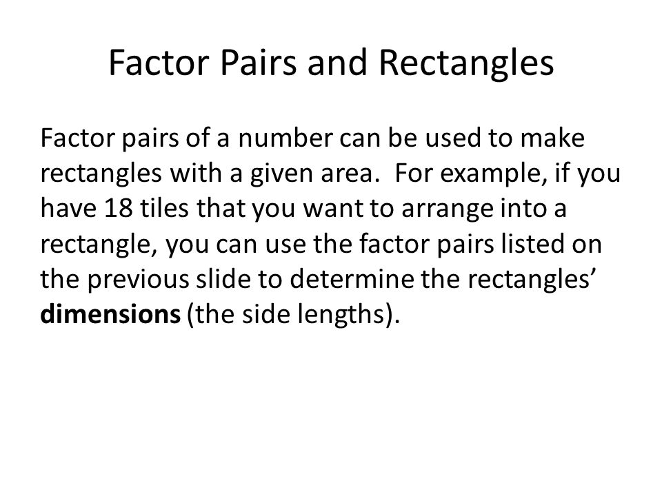 Factor Pairs and Rectangles