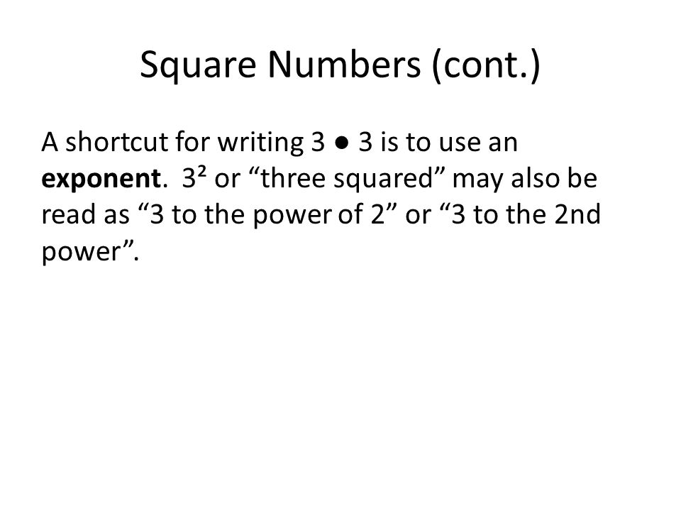Square Numbers (cont.)