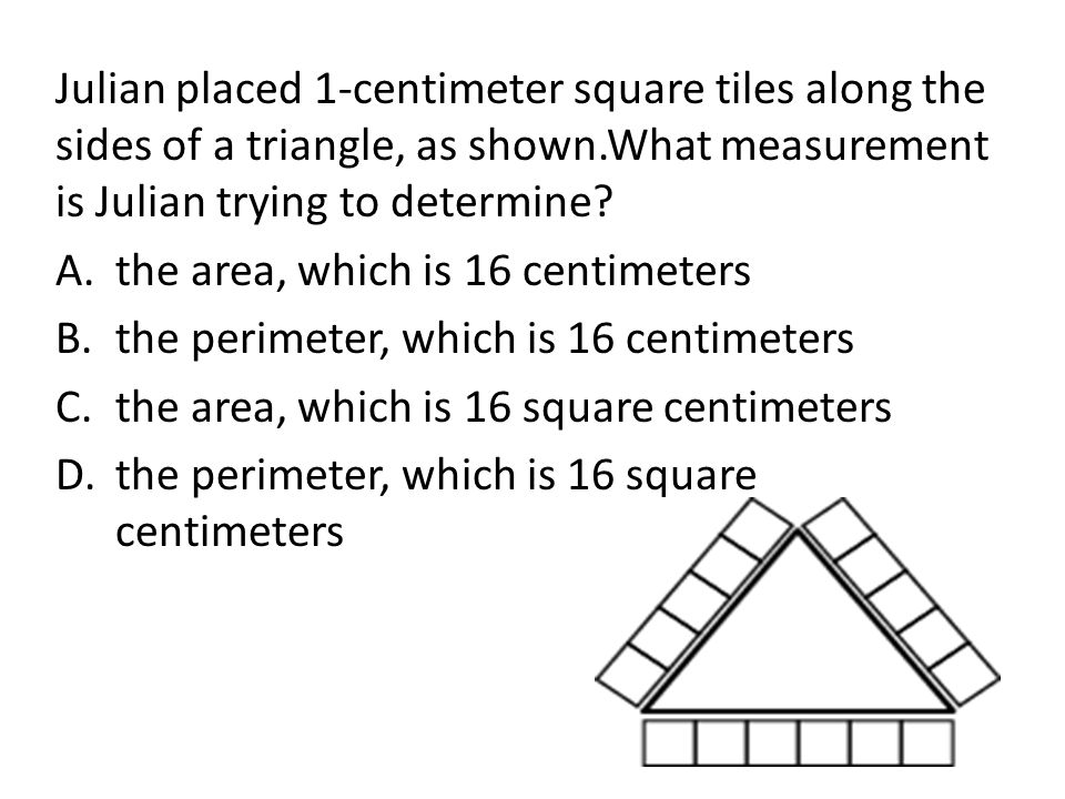 Julian placed 1-centimeter square tiles along the sides of a triangle, as shown.What measurement is Julian trying to determine
