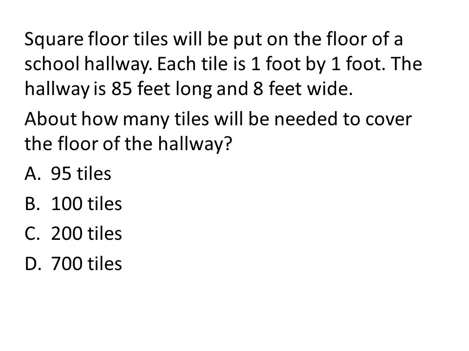 Square floor tiles will be put on the floor of a school hallway