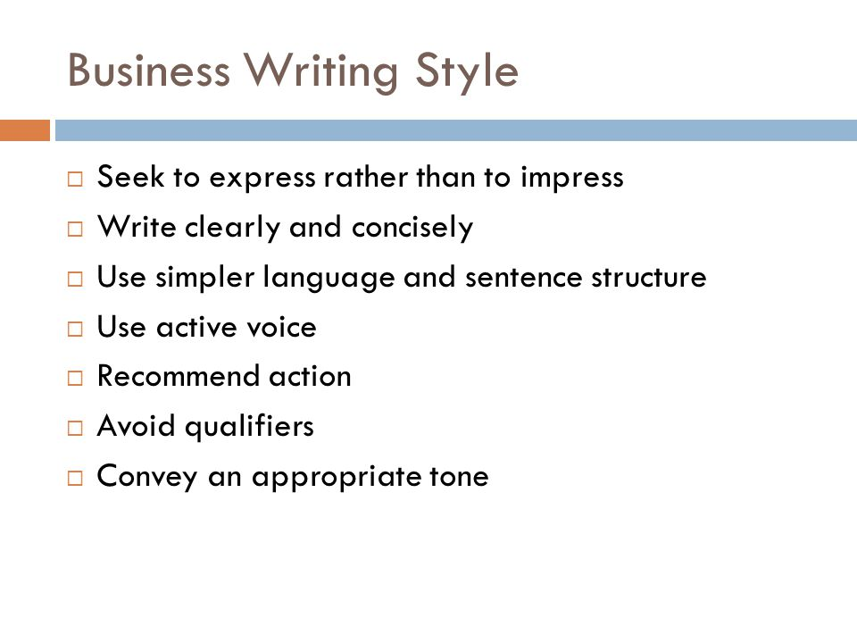 Define business writing style
