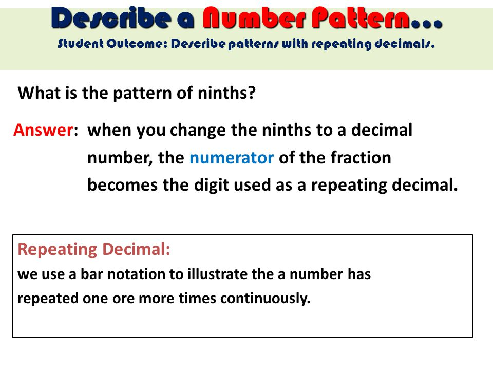 What is the pattern of ninths