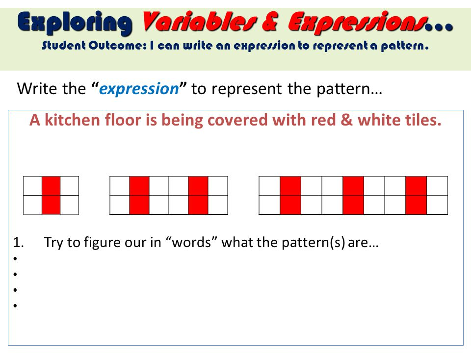 Write the expression to represent the pattern…