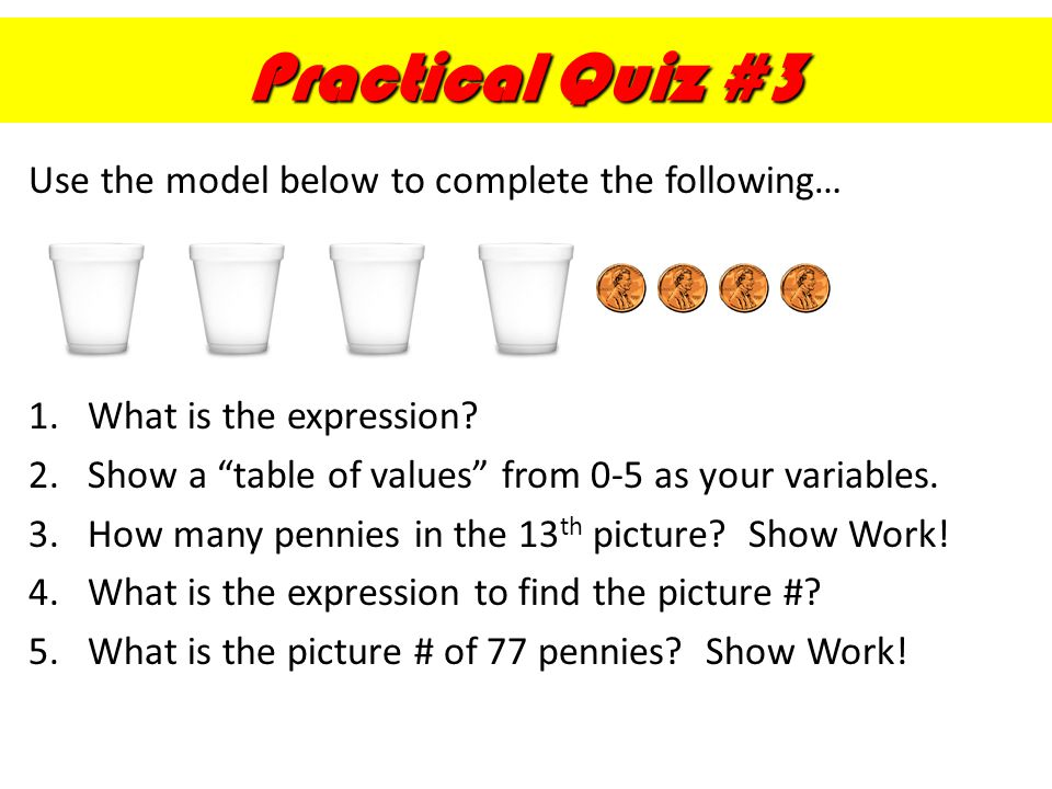 Practical Quiz #3 Use the model below to complete the following…