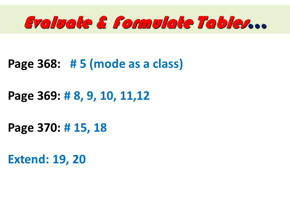 Evaluate & Formulate Tables…