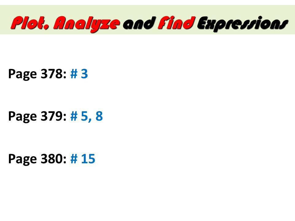 Plot, Analyze and Find Expressions