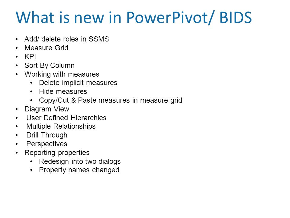 What is new in PowerPivot/ BIDS