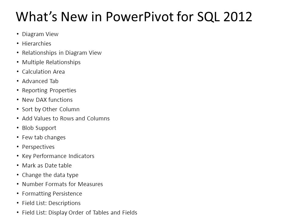 What's New in PowerPivot for SQL 2012