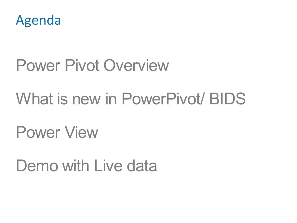 What is new in PowerPivot/ BIDS Power View Demo with Live data