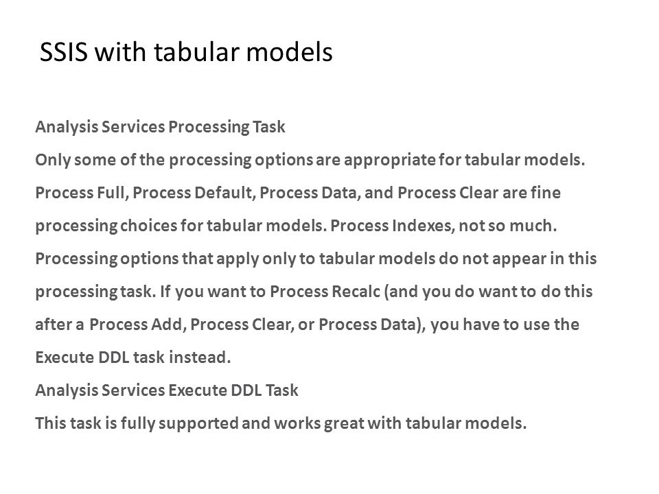 SSIS with tabular models