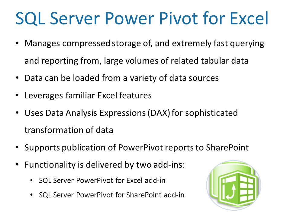 SQL Server Power Pivot for Excel