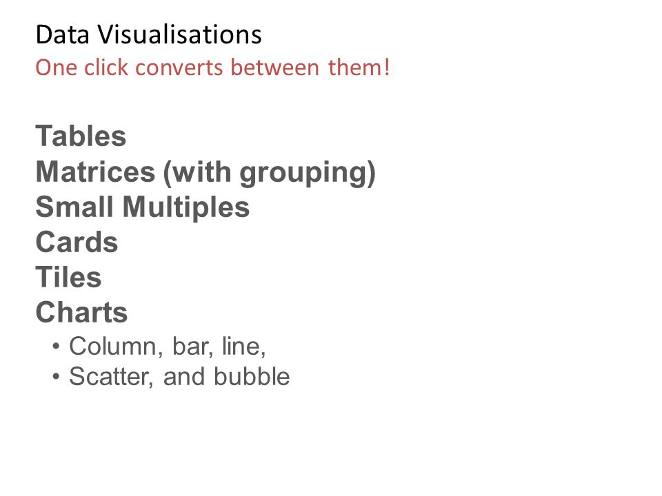 Data Visualisations One click converts between them!