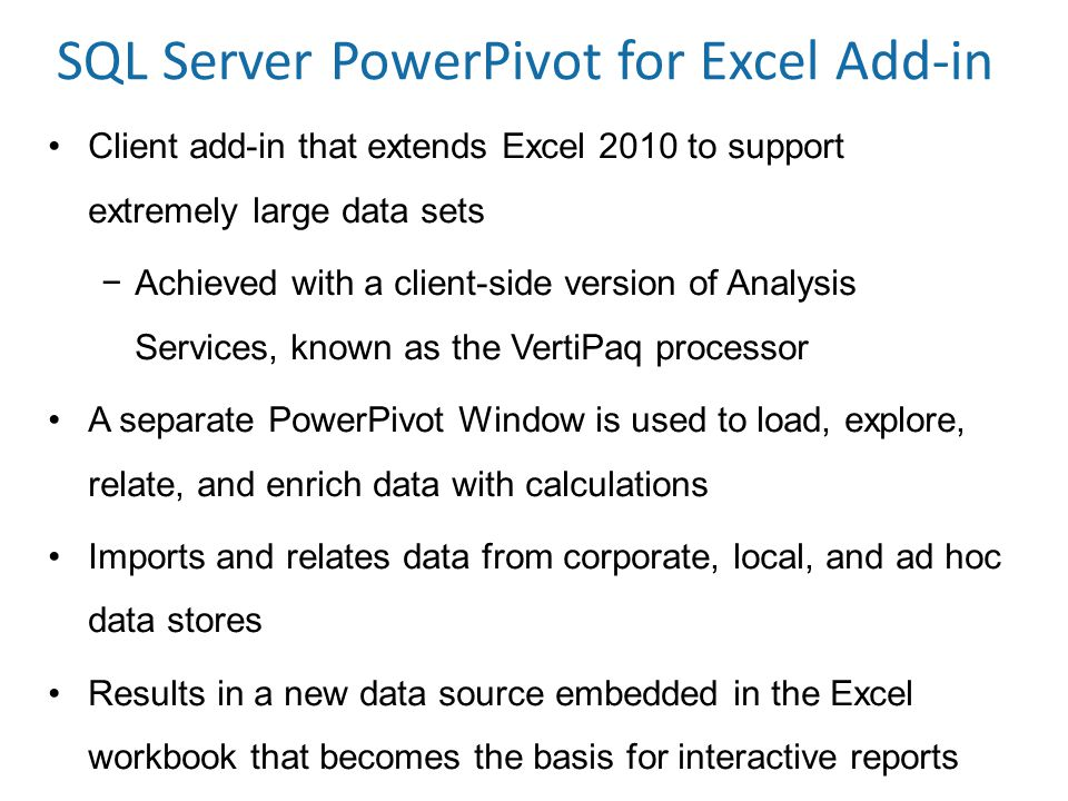 SQL Server PowerPivot for Excel Add-in