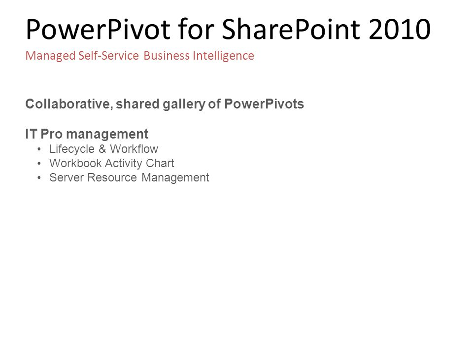 PowerPivot for SharePoint 2010 Managed Self-Service Business Intelligence