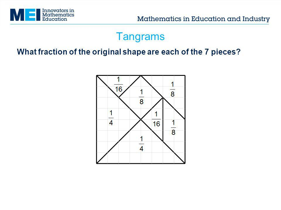 Tangrams What fraction of the original shape are each of the 7 pieces
