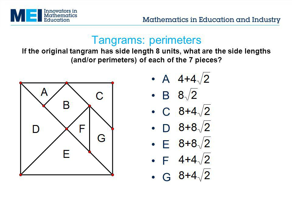Tangrams: perimeters If the original tangram has side length 8 units, what are the side lengths (and/or perimeters) of each of the 7 pieces