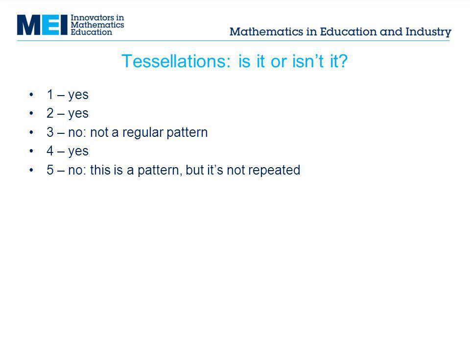 Tessellations: is it or isn't it