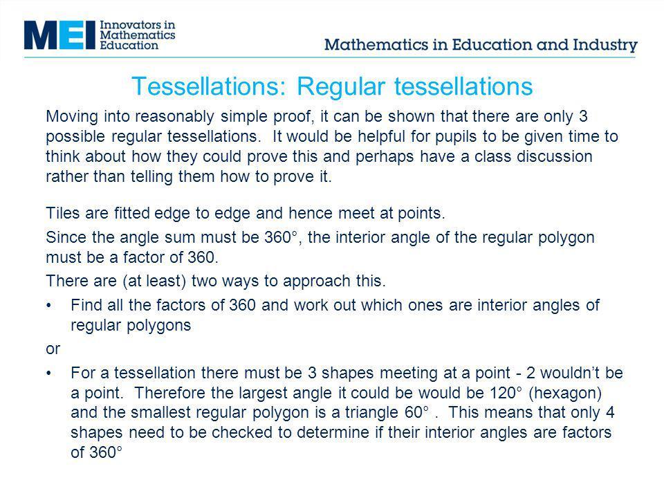 Tessellations: Regular tessellations