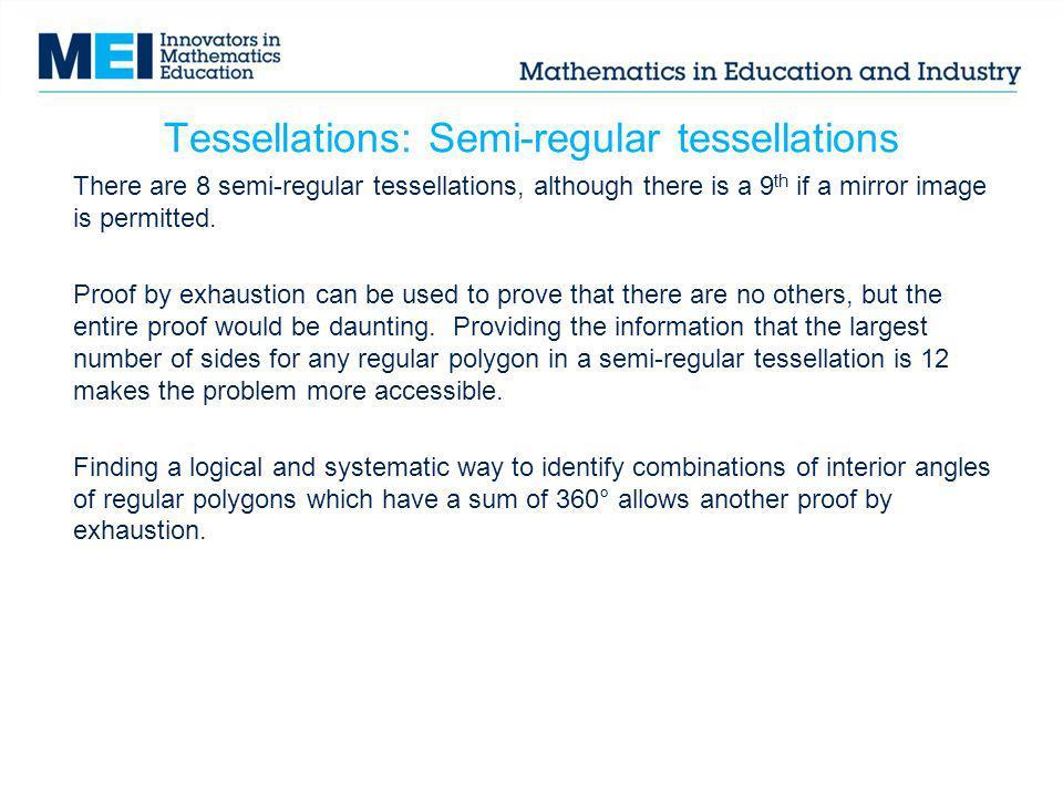 Tessellations: Semi-regular tessellations