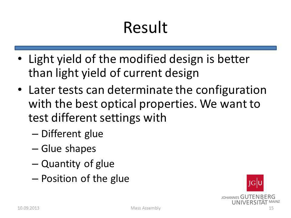 Result Light yield of the modified design is better than light yield of current design.