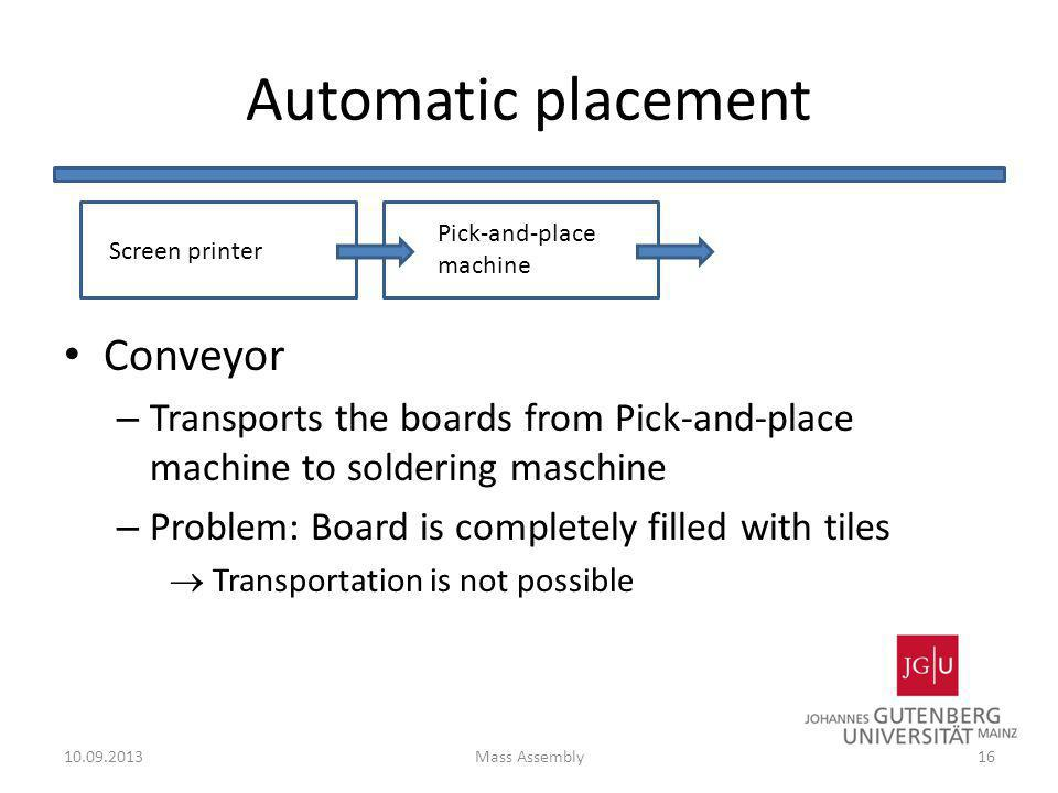 Automatic placement Conveyor