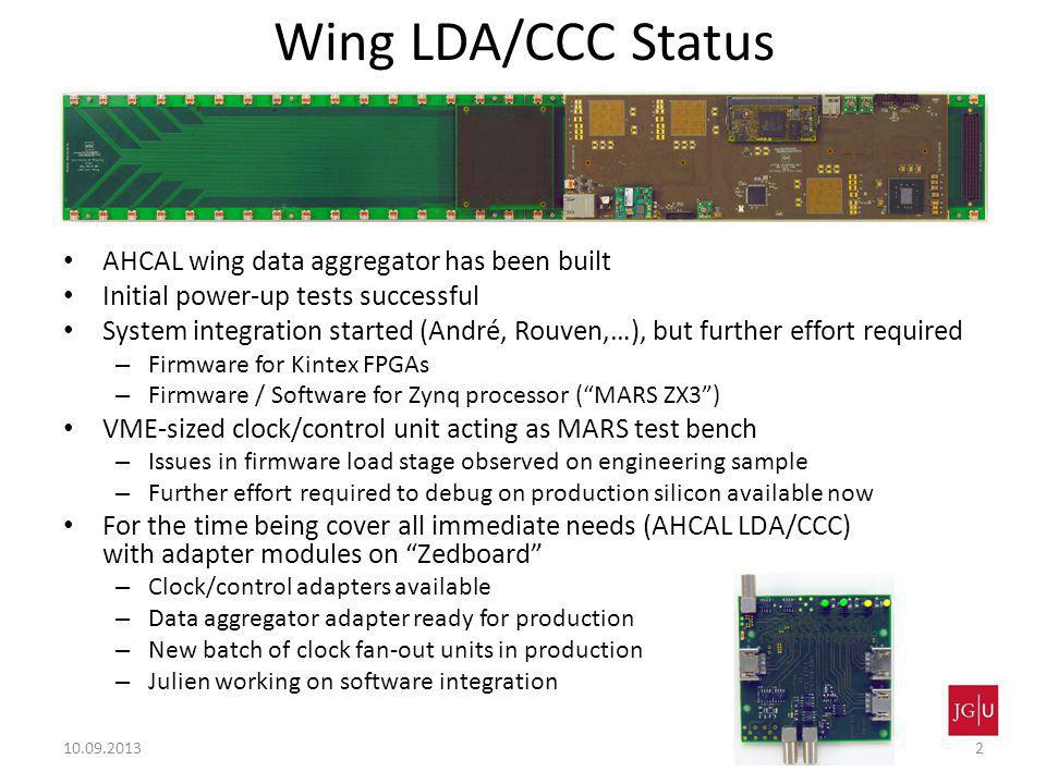 Wing LDA/CCC Status AHCAL wing data aggregator has been built