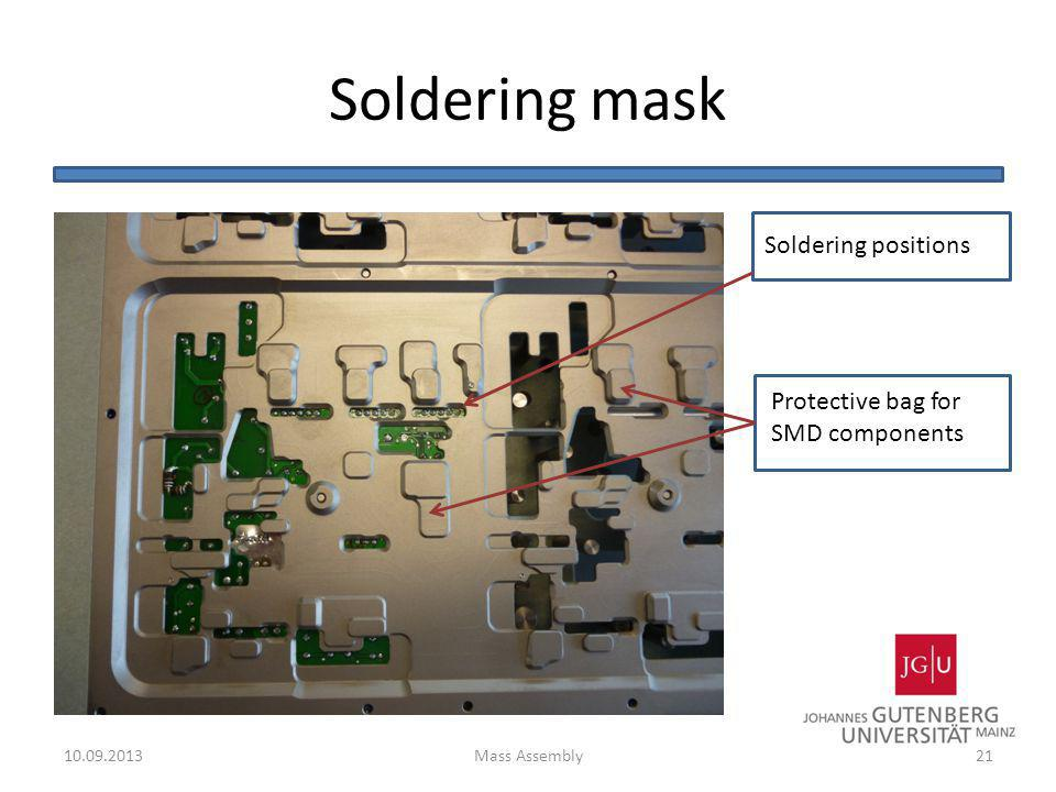 Soldering mask Soldering positions Protective bag for SMD components