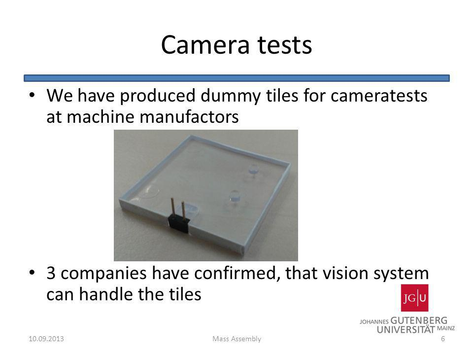 Camera tests We have produced dummy tiles for cameratests at machine manufactors.