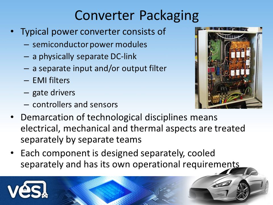 Converter Packaging Typical power converter consists of