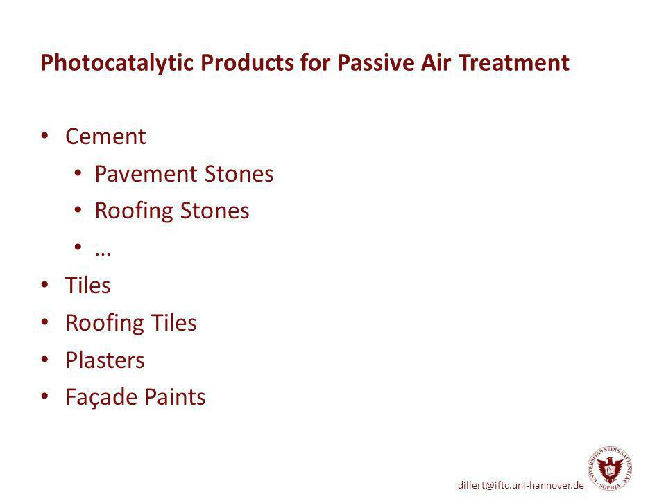 Photocatalytic Products for Passive Air Treatment